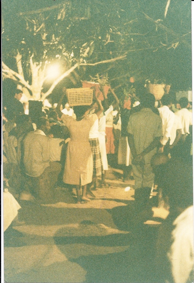Outdoor evening mass in Hinche, 1990